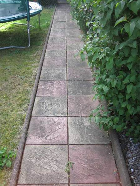 Pathway in garden laden with dirt and algae